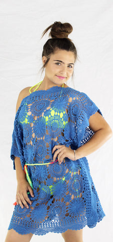 Vintage Crochet Cover up Queen Blue