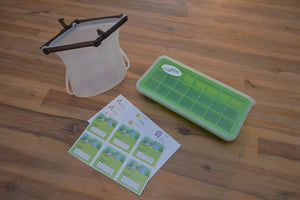 Odd Pod - Baby food prep pod includes a reusable silicone bag, a silicone baby food tray with lid and labels for baby food storage.