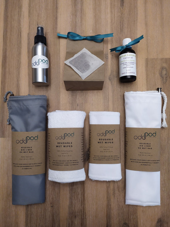 Odd Pod Baby Wipe Pod - Premium, includes two packs of 8 reusable baby wipes in a cotton towelling and flannel option, two reusable bin liner bags and spray bottles to hold the Apricot Kernel Oil and Rooibos tea solution.