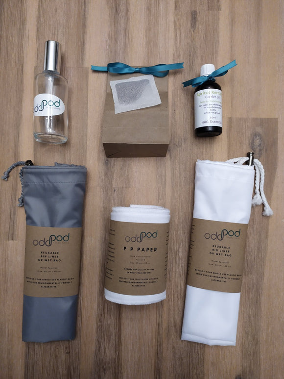 Odd Pod PP Paper Premium Starter Pod, contains one PP Paper, one Reusable Bin Liner Wet Bag, Apricot Kernel Oil, Organic Rooibos Tea bags and a Spray Bottle.