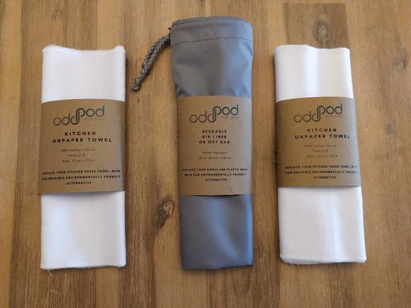 Odd Pod Kitchen Unpaper Towel Pod that contains two packs of 8 reusable flannel wipes in white and one reusable and washable bin liner wet bag in grey. The bag is used for storing the used wipes.
