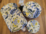 Odd Pod dish and bowl covers that replaces single use plastic wraps. Featured in a set of three in a lovely blue and yellow floral design.
