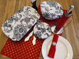 Odd Pod Dish covers, in set of 3. Featured in black and white floral design.