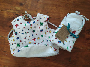 Odd Pod baby bib, made from 100% cotton flannel and backed with double-sided cotton towelling. Available in multiple designs.