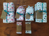 Odd Pod baby bib, baby dribble blanket, and baby reusable wipes made from 100% cotton flannel and towelling.