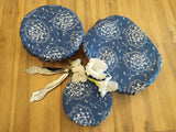 Odd Pod dish covers in set of three, made from 100% cotton in a denim blue design with white flowers.