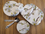 Lovely cotton dish or bowl covers in set of three in a green and white cherry blossom design