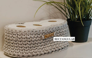 Rectangular basket handmade from recycled t-shirt material.