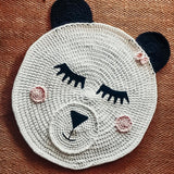 Grey Bear Face rug are handmade from recycled yarn. Various options available such as this cute Panda bear design.