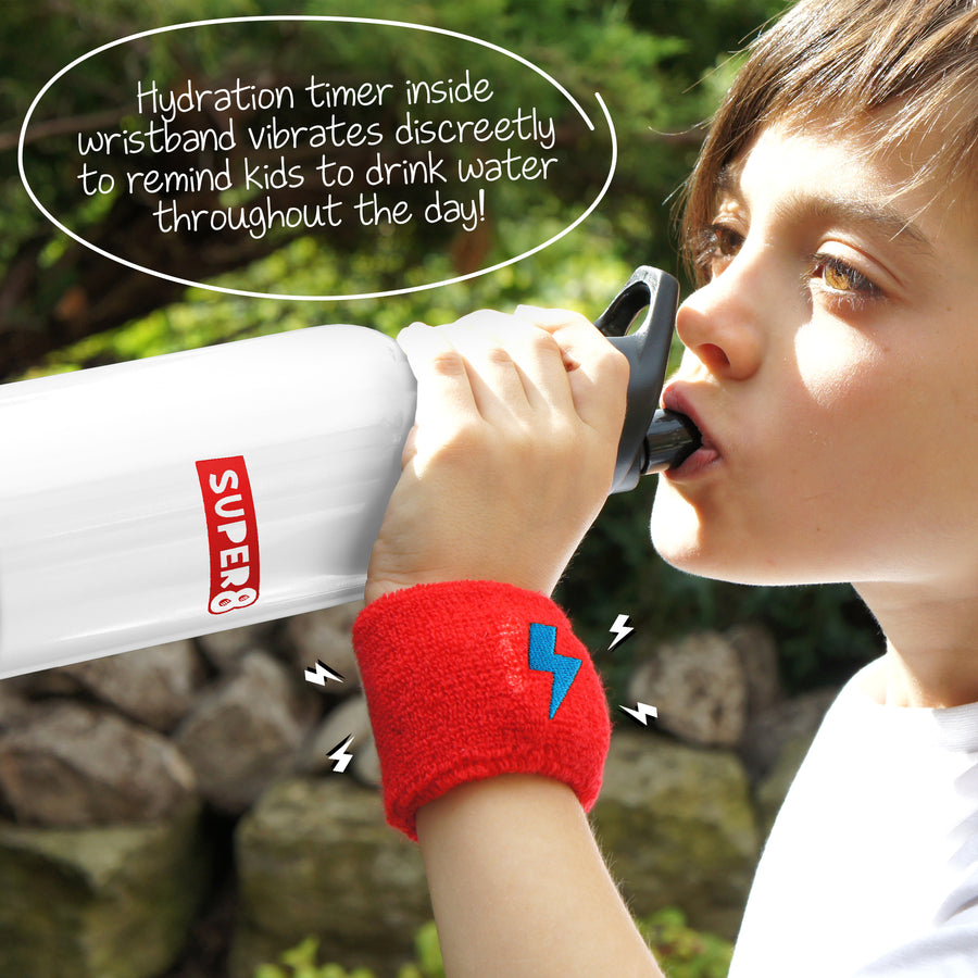 RED Sweatband + Hydration reminder  + Bottle