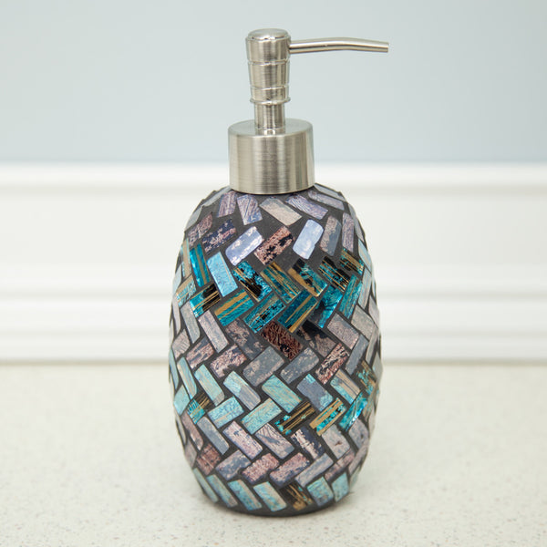 Lotion Pump Metallic Glas Mosaic Blue And Purple