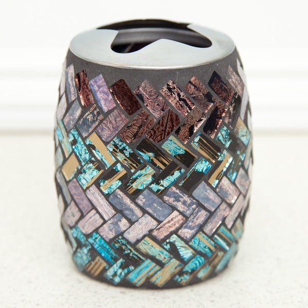 Glass Mosaic Toothbrush Holder Purple Blue Black