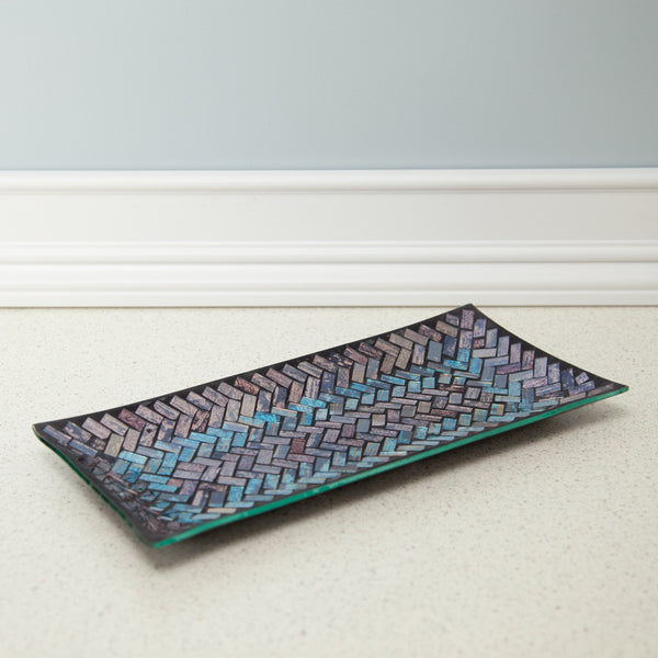 Vanity Tray Metallic Glass Tray Mosaic Glass Tray Purple Blue