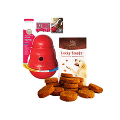 Kong Wobbler - Dispensador de premios Large + Mio Cane Lucky Treats Galletas 200gr