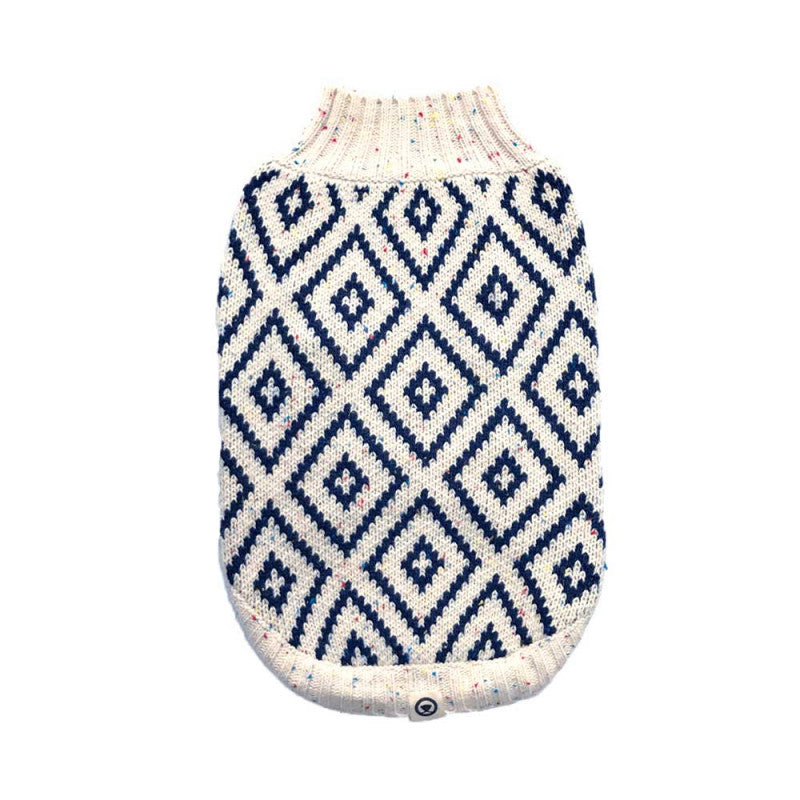 Hot Dogz Sweater Rombo Azul Talla S