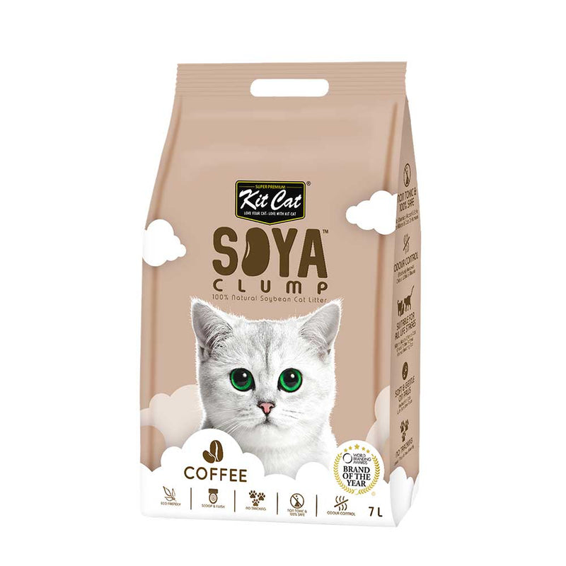 Kit Cat Soya Clump Soybean Litter - Coffee- 3kg