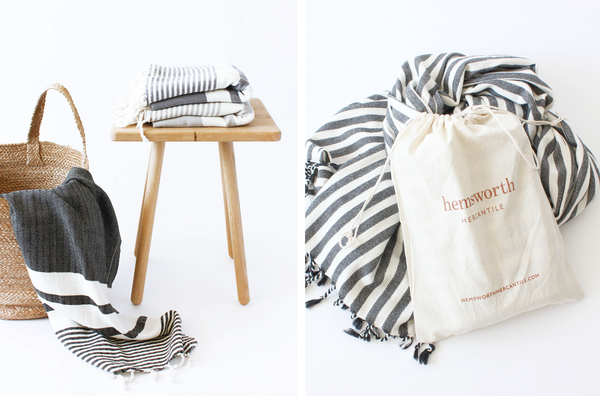 Hemsworth Mercantile Striped Cotton Turkish Beach Towel Beach Blanket Throw with cotton drawstring bag