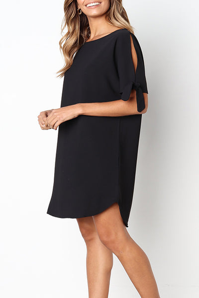 Kilalagril Casual Round Neck Black Knee Length Dress