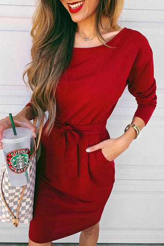 Kilalagril O Neck Red Knee Length Dress