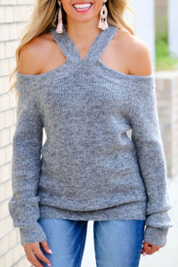 Kilalagril Dew Shoulder Grey Sweater