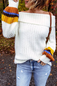 Kilalagril Presale Off The Shoulder Multicolor Patchwork Sweater