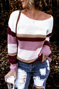 Kilalagril Color-lump Patchwork Pink Sweater