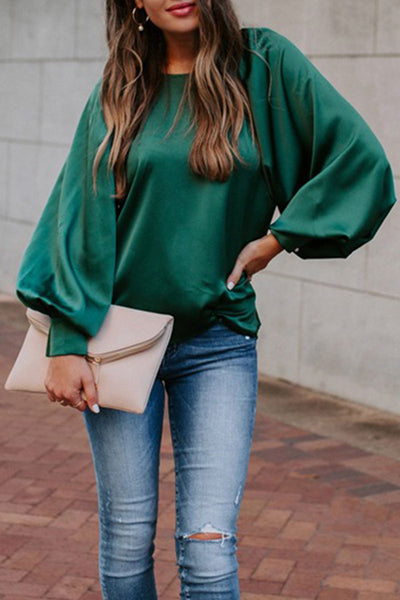 Kilalagril Basic Loose Green Blouse
