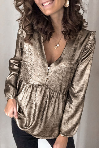 Kilalagril V Neck Ruffle Design Gold Blouse