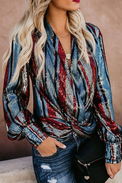 Kilalagril Striped Sequin Multicolor Shirt
