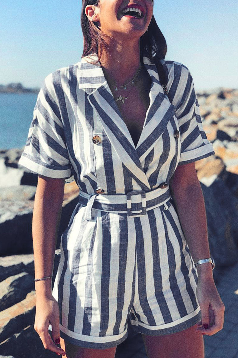 Kilalagril Striped Blue One-piece Romper