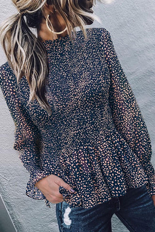 Kilalagril Dot Print Black Flare Sleeves Blouse