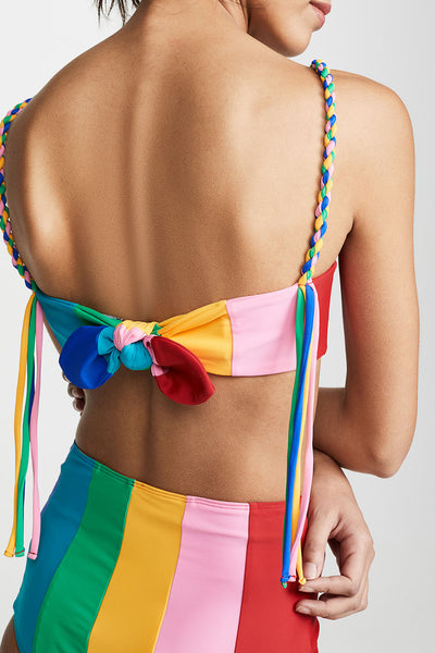 Kilalagril Color-lump Patchwork Multicolor Two-piece Swimsuit