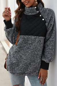 Kilalagril Stylish Mandarin Collar Patchwork Sweatshirt