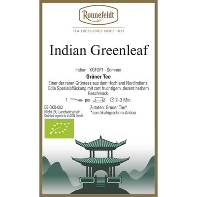 Grüner Tee Indian Greenleaf bio Etikett