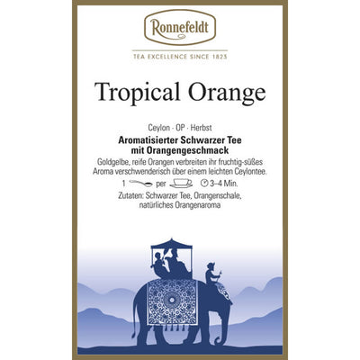 Ronnefeldt Schwarztee Tropical Orange Etikett