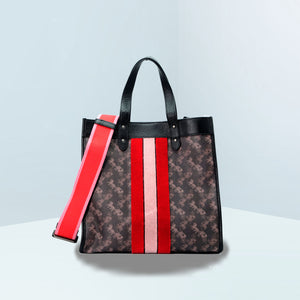 Field With Horse And Carriage Print And Varsity Stripe Tote Bag