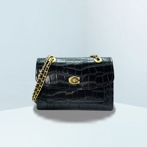 Parker Embossed Croc Shoulder Bag
