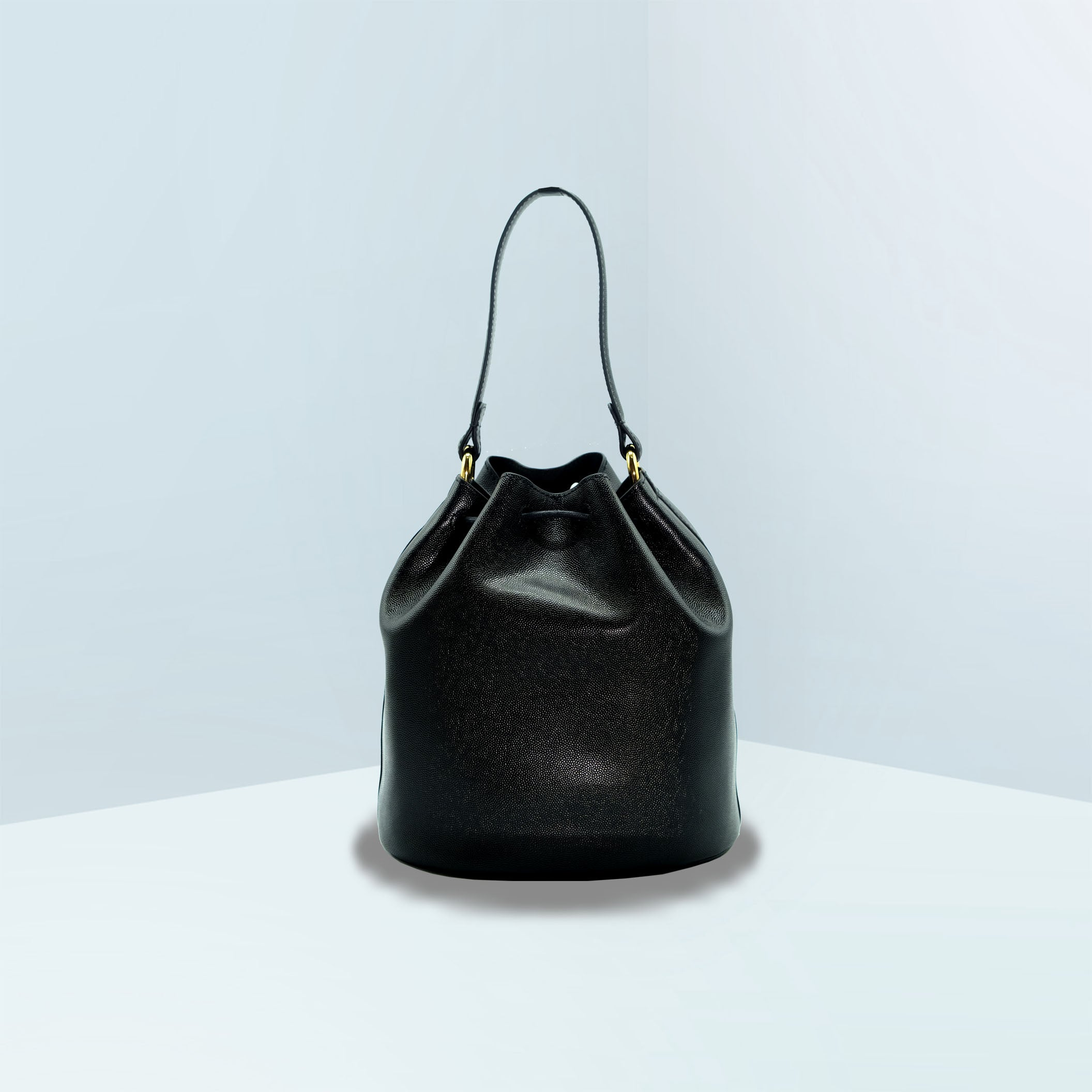 Drawstring Medium Leather Bucket Crossbody Bag