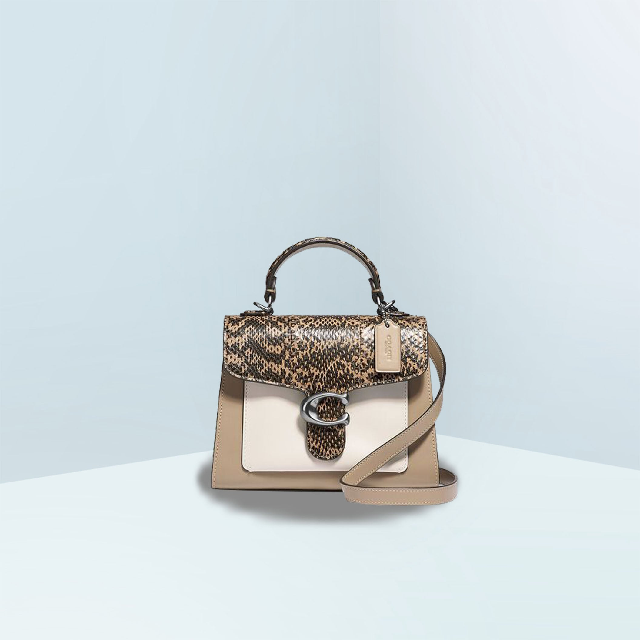 Tabby Top Handle 20 In Colorblock With Snakeskin Mini Crossbody Bag