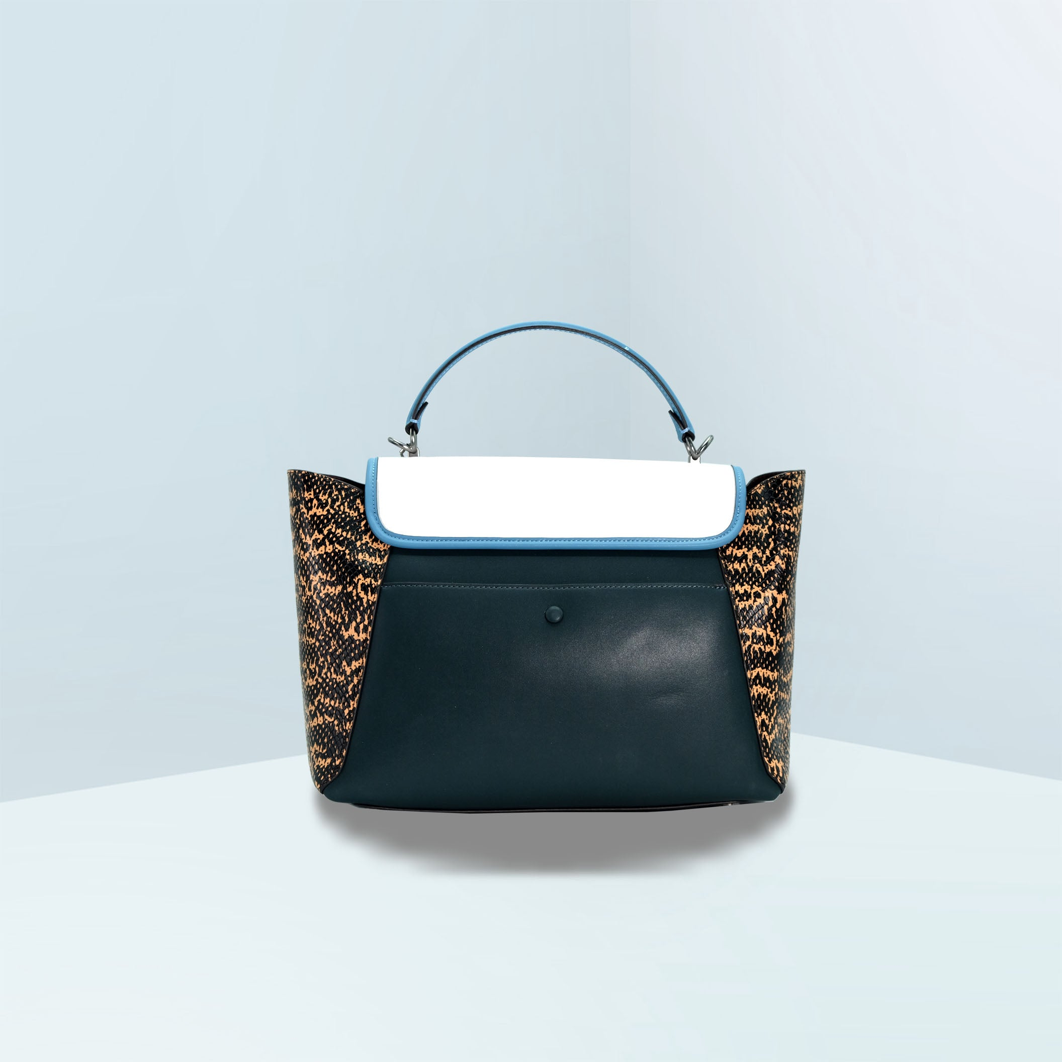 Courier Carryall With Snakeskin Detail Satchel Bag