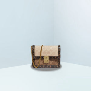 Hutton In Blocked Signature Canvas With Snakeskin Mini Belt Bag