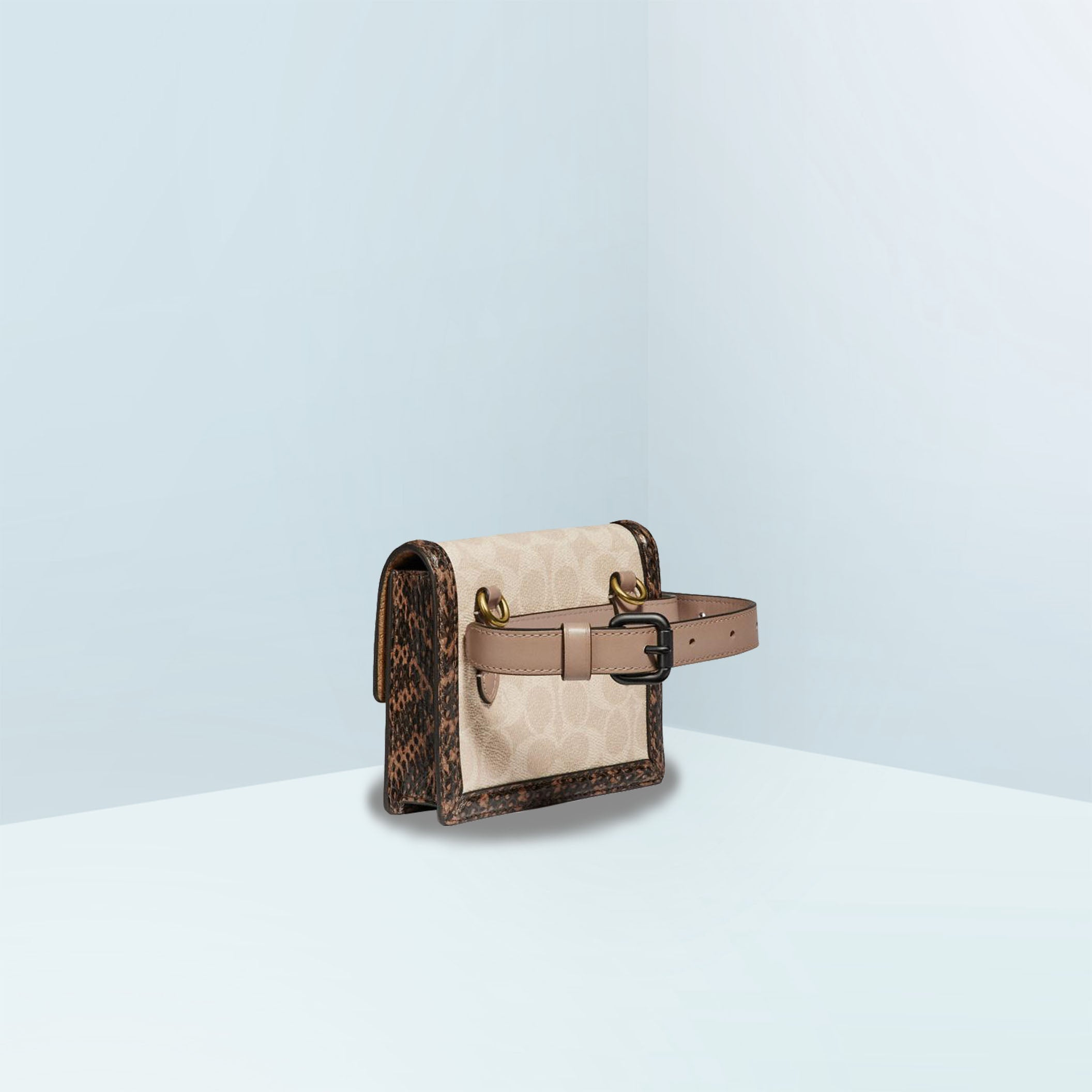 Hutton In Blocked Signature Canvas With Snakeskin Belt Bag
