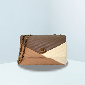 Kira Chevron Mixed-Materials Flap Shoulder Bag