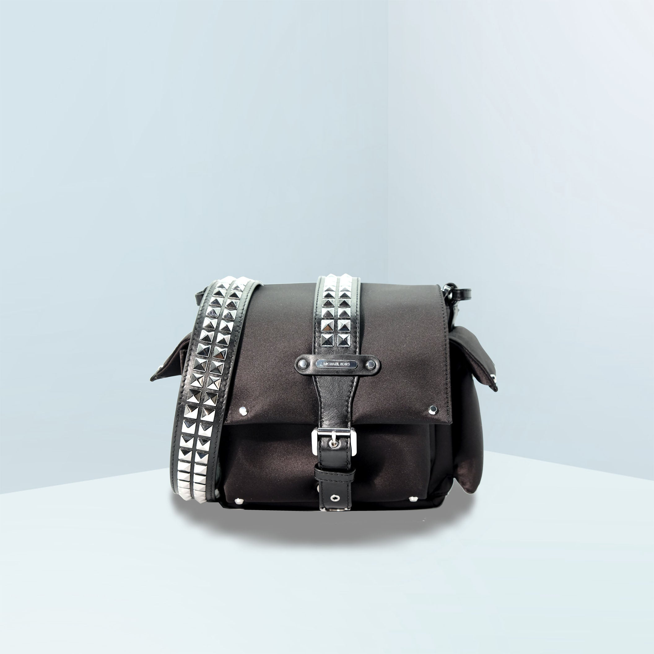 Olivia Small Studded Satin Crossbody Bag