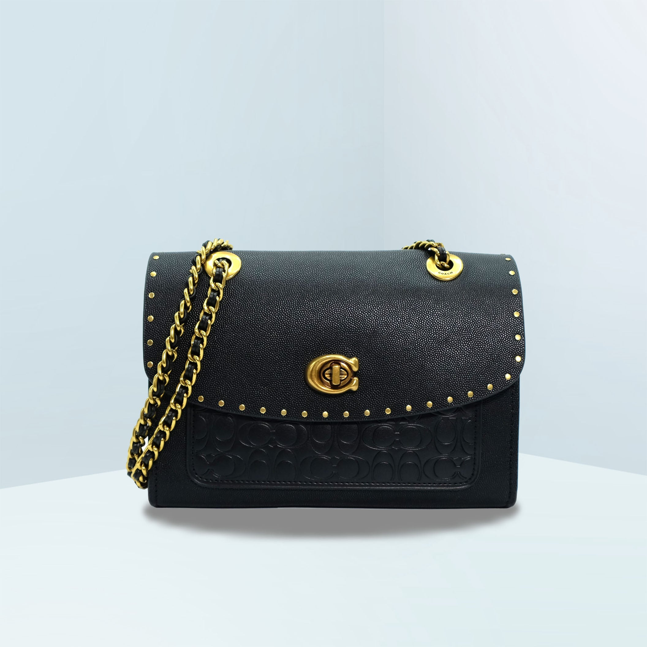 Parker In Signature Leather With Rivets Convertible Crossbody Bag