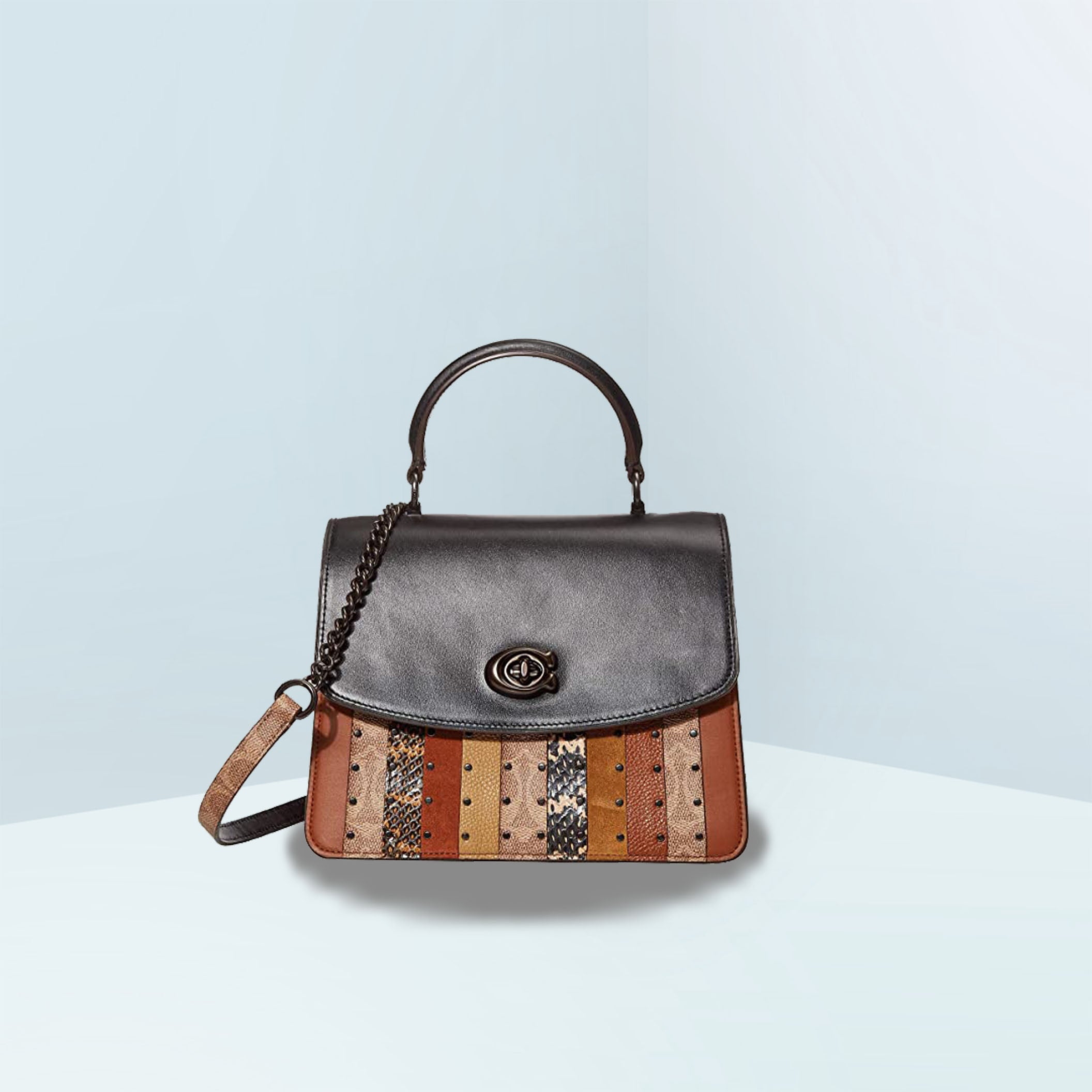 Parker Top Handle With Signature Canvas Patchwork Stripes And Snakeskin Crossbody Bag