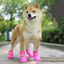 Load image into Gallery viewer, @HE 4pcs/lot S/M/L Pet Dog Rain Shoes for Dogs Booties Rubber Portable Anti Slip Waterproof Pet Dog Cat Rain Shoes Candy Colored - Petgo Wholesale