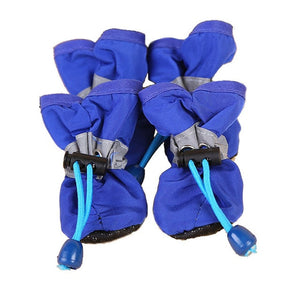 4 Pcs/Set Lovely Non-slip Solid Waterproof Rain Boots Autumn Winter Dogs Paws Soft Shoe Portable Pet Dog Shoes Cover@LS - Petgo Wholesale