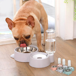 Non-Slip Dog Bowl 2 In 1 PP Stainless Steel Automatic Water Dispenser Feeder Pet Dog Cat Drinker Cute Pet Food Container Hot