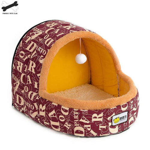 Hot Sell Pet Cat Dog  House Autumn Winter Soft Plush Dogs Small Big Cats  Nest Home Cute Pattern Kitten Puppy Shelter - Petgo Wholesale